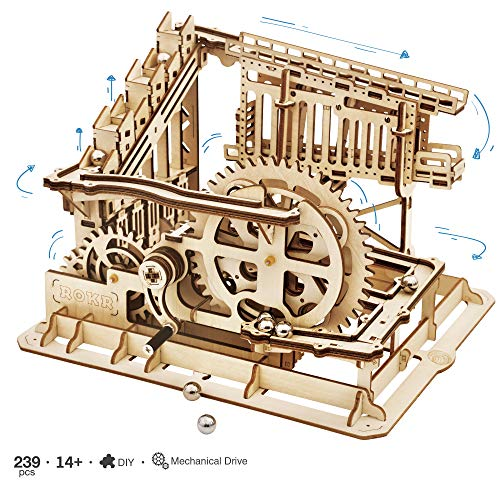 Marble Building Kit - ROKR 3D Wooden Puzzle Marble Run Model Building Kits Mechanical Puzzle Toy Gifts for Adults & Teens Marble Squad