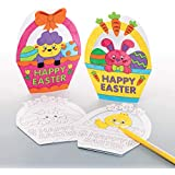 Baker Ross Easter Basket Color-in Cards (Pack of 8) Easter Crafts for Kids to Decorate and Gift
