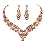 Youfir Austrian Rhinestone Crystal Wedding Gown Prom Ball Necklace Earrings Jewelry Set for Brides Dress (Rose Gold-Peach)