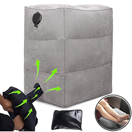 TOPEPOP Inflatable Travel Foot Rest Pillow with Air Pump Bag Airplane Footrest Pillow Adjustable Height Cushion Legs…