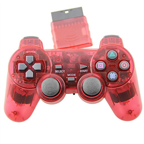 TPFOON Wireless Controller Double Vibration Gamepad Joystick For PS2 Playstation 2 Red