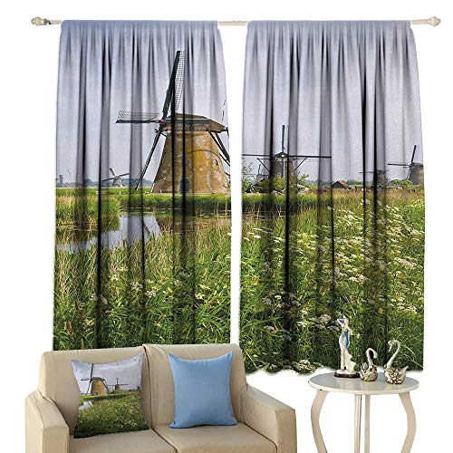 (HoBeauty Windmill, Window Curtain Fabric, Country Landscape The Netherlands Spring Blooming Parsley, Drapes for Living Room,(W72 x L72 Inch, Green Pale Coffee znd Pale Blue)