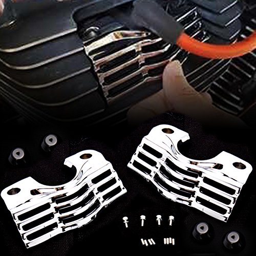 CHROME FINNED SLOTTED HEAD BOLT SPARK PLUG COVERS FOR HARLEY TOURING STREET GLIDES KING FLHX FLHR (Ignition Plugs Cover)