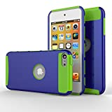 iPod touch 5 Case,iPod touch 6 Case, MOOST(TM) 2-Piece Style Hybrid Shockproof Hard Case Cover for Apple iPod touch 5 6th Generation (Dark Blue / Green)
