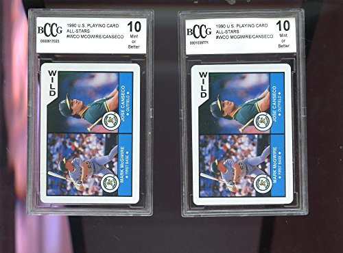 2x 1990 U.S. Playing Wild Card Mark McGwire Jose Canseco Graded Baseball BCCG 10