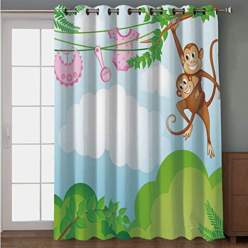 Blackout Patio Door Curtain,Nursery,Monkey Swinging with The Kid Baby Clothes Chimpanzee Jungle Joy Togetherness,Green Brown Pink,for Sliding & Patio Doors, 102