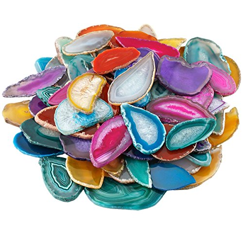 - mookaitedecor Polished Agate Light Table Slices,Geode Agate Slab Cards Pack of 12