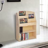 Yescom Wood Bookshelf Bookrack Storage Organizer Display Bookcase Shelving Natural Wood Color Home Decor Furniture