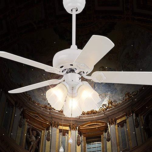 42-Inch Turbo Swirl Three-Lamp Ceiling Fan, Crystal Fan Chandelier Pendant Indoor Fan Chandelier Traction Rope Control - Pendant Swirl Circular