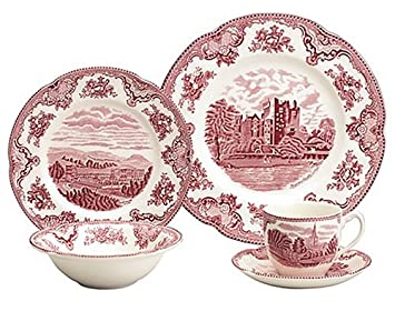 Amazon.com Johnson Brothers Old Britain Castles Pink 5-Piece Place Setting Johnson Brothers Britain Plate Kitchen u0026 Dining  sc 1 st  Amazon.com & Amazon.com: Johnson Brothers Old Britain Castles Pink 5-Piece Place ...