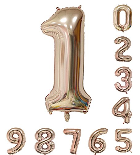 40 inch Champagne Numbers Helium Balloon 0-9 (Zero-Nine) Mylar Birthday Party Decorations of Arabic Numerals 1