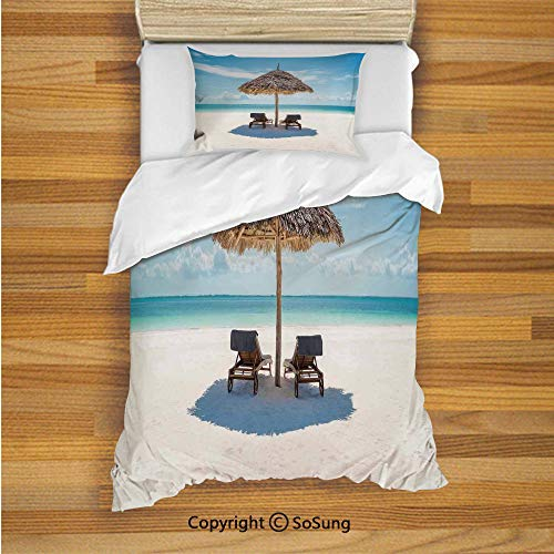 Seaside Kids Duvet Cover Set Twin Size, Wooden Sun Loungers Facing Eastern Ocean Under a Thatched Umbrella in Zanzibar 2 Piece Bedding Set with 1 Pillow Sham,Turquoise Cream ()