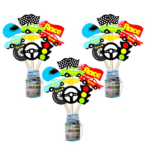 BeYumi 30 Pack Racecar Centerpiece Sticks Bobber Table Toppers Cupcake Toppers-Let's Go Racing Themed Party Favors Birthday Ideas Photo Booth Props Decorations ()