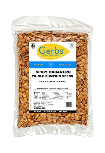 Cheap Spicy Habanero Whole Pumpkin Seeds, 2 LBS by Gerbs – Top 12 Food Allergy Free & Non GMO – Vegan & Kosher Certified – Dry Roasted Seasoned In-Shell Pepitas from United States