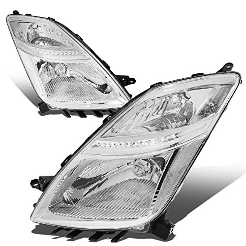 (For Prius XW20 2nd Gen Pair of Chrome Housing Clear Corner Headlights Lamp)