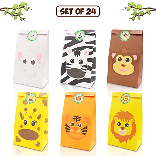 Safari Themed Gifts (Jungle Safari Animals Favor Goodie Bags Zoo Animals Birthday Treat Goody Gift Bags for Kids Baby Shower Birthday Party Favor Decorations Supplies Set of)