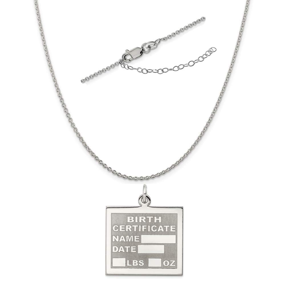 Sterling Silver Anti-Tarnish Treated Birth Certificate Polished Necklace