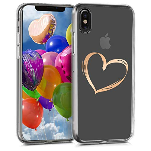 r Apple iPhone X - Soft TPU Silicone Cover - Crystal Clear Back Case IMD Design - Rose Gold/Transparent ()