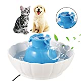 Sailnovo Automatic Pet Feeder 4 Meals Programmable Cat feeder Water Trays for Dog Puppy (Ceramic Water Fountain)