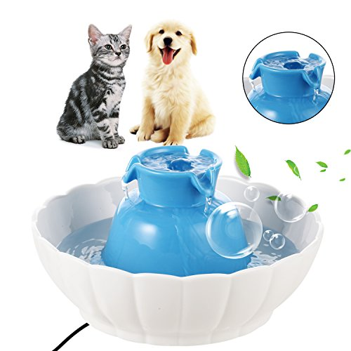 Tap Ceramic Dog Bowl (Currens Pets Ceramic Drinking Fountain Pet Feeder Automatic Cat Feeder Automatic water Fountain for Dogs Cats)