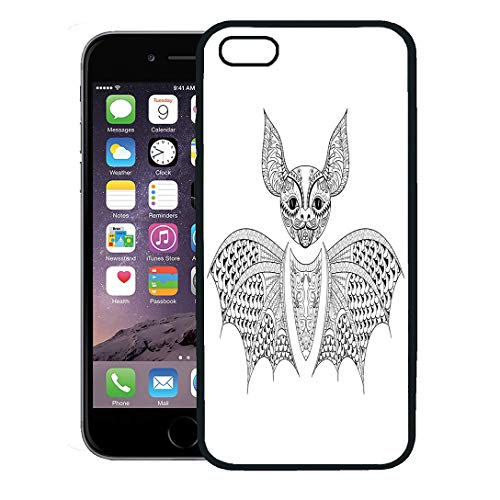 Semtomn Phone Case for iPhone Xs case,Zentangle Bat Totem for Adult Anti Stress Coloring Page Therapy Tribal in Doodle Monochrome Sketch High iPhone 7 Plus case Cover,Black]()