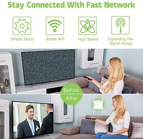 WiFi Range Extender 1200Mbps, Wireless Signal Repeater Booster 2.4 & 5GHz Dual Band 4 Antennas 360° Full Coverage, Extend WiFi Signal to Smart Home & Alex Devices (1200Mbps, White)