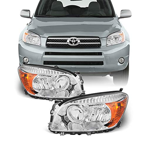 [OE Factory Style] For 06-08 Toyota RAV4 XA30 Chrome Clear Headlight Headlamps Replacement Pair