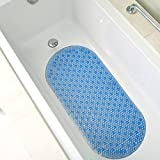 "Bath Mat Extra Long (35""x15"") Non Slip Cushioned 4 Color Options (blue) Bathtub Mat For Tub By Sultan's Linens"