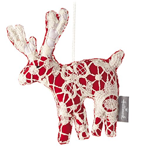 Hallmark Holiday Home Decor: Fabric/Lace Patchwork Reindeer Christmas Tree