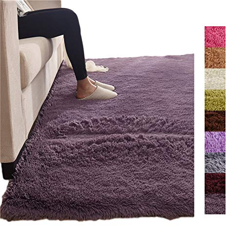 (Tatami Solid Color Rectangle Fluffy Shaggy Floor Mat, Thicken Carpet Floor Mat Home Living Bedside Kids Crawling Area Rug Purple Grey 63