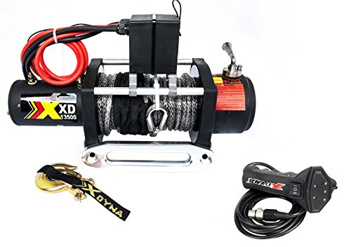13500 Lbs Waterproof Winch With Adjust Torque Limited Protector, Intelligent Remote Handle Showing Load Red Warning, 100% Engaged Stainless Clutch, Synthetic Rope, Used To SUV Jeep Track - 92 Automatic Carbon