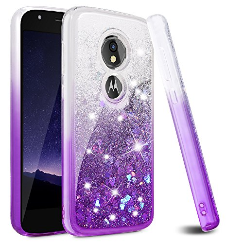 Moto E5 Play Case, Moto E5 Cruise Case, Ruky [Gradient Quicksand Series] TPU Shockproof Protective Flowing Liquid Floating Glitter Women Girls Cute Case for Motorola Moto E5 Play - Gradient Violet