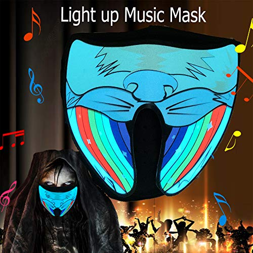 Halloween mask neon mask led mask Light up mask Light mask Cosplay mask led face mask led Rave mask X led mask with Sound Active for Halloween Cosplay Kids Dancing.Riding.Skating.Party&Music Festival -