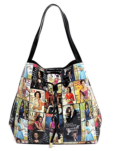 Collage Hobo - Glossy Magazine Cover Collage 3-in-1 Shoulder Bag Hobo Michelle Obama Handbag (6-Multi/Black)