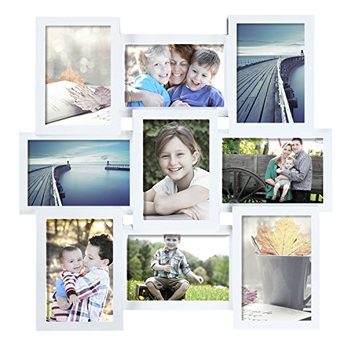 Acrylic Collage Picture Frame - DecentHome 9-Opening Wood Collage Wall Hanging Picture Frame, 4 by 6-Inch (White)