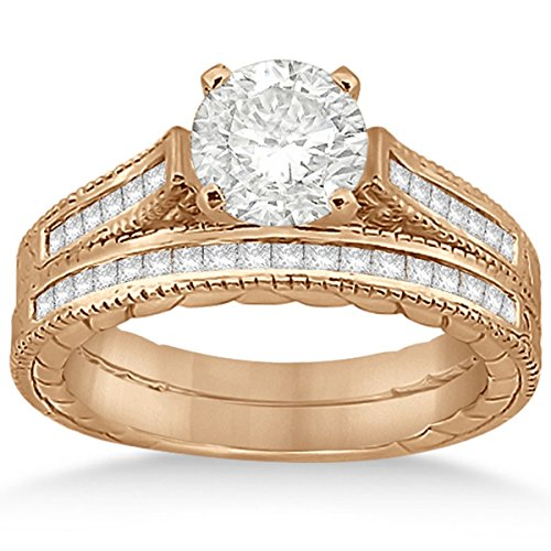 0.38 Ct Princess Diamond (Princess-Cut Prong-Set Diamond Filigree Bridal Set with Milgrain Edges in 18k Rose Gold (0.38ct))