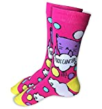 """""""Fuck Cancer"""" Socks - Funny Novelty Gag Gift Idea for a Cancer Survivor or Chemo Patient - Pink with Cat Awareness Apparel"""