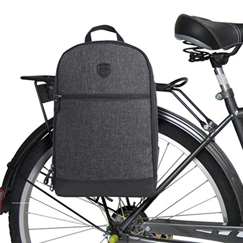 TOURBON Nylon Clip-On Bike Panniers Backpack 13″ Laptop Bag – Black