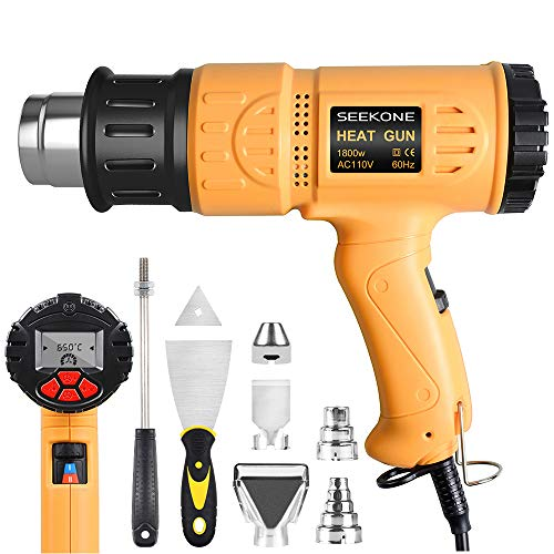 SEEKONE Heat Gun Industrial Hot Air Gun Kit 1800w 50℃~650℃ (122℉~1202℉) with LCD Display Digital Precision Temperature Control, Dual Temp-settings for Removing Paint, Bending Pipes, Shrinking PVC
