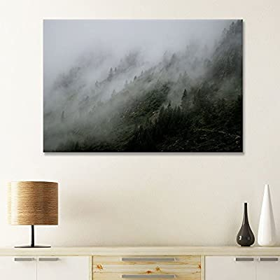 Fascinating Design, Forest and Mountain with Fog, Created Just For You