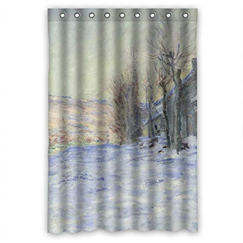(Aloundi Shower Curtain,Sagatek Art Painting Claude Monet - Lavacourt Under Snow (1881) s Polyester Best for Kids Boys Birthday Her Husband Gf. with Hooks)