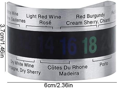 Fdit Acero Inoxidable Vino LCD Termómetro Botella Cerveza Rojo Vinos Pulsera Sensor de Temperatura