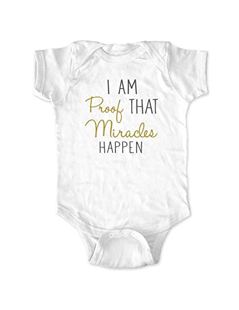Amazon cute funny i am proof that miracles happen baby birth cute funny i am proof that miracles happen baby birth pregnancy announcement bodysuit newborn thecheapjerseys Images