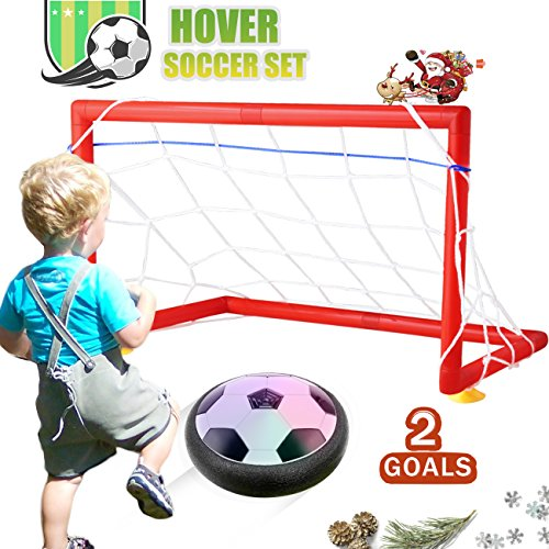 DSTANA Kid Toys Baby Boys Toys Hover Football Air Power,2 Soccer Goal Gate Set for Kid Christmas Gifts Sports Boys Girls Toddler with LED Light Up Toys Children Festival and Birthday Gift