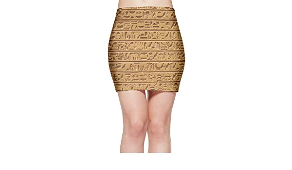 Amazon.com: Ancient Egyptian Hieroglyph Womens Fitted Mini Skirt Stretch Bodycon Pencil Skirt: Clothing