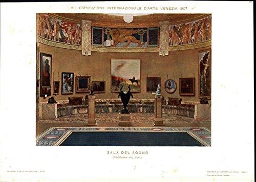 Art Exhibit Gallery c.1912 scarce Italian Art Nouveau antique print