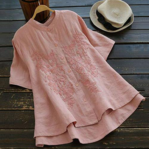 10062f83bfae Women's Sexy Tops 2019 Fashion,YEZIJIN Women Casual Plus Size Tops  Embroidery Solid Shirt Vintage Button Loose Blouse Pink
