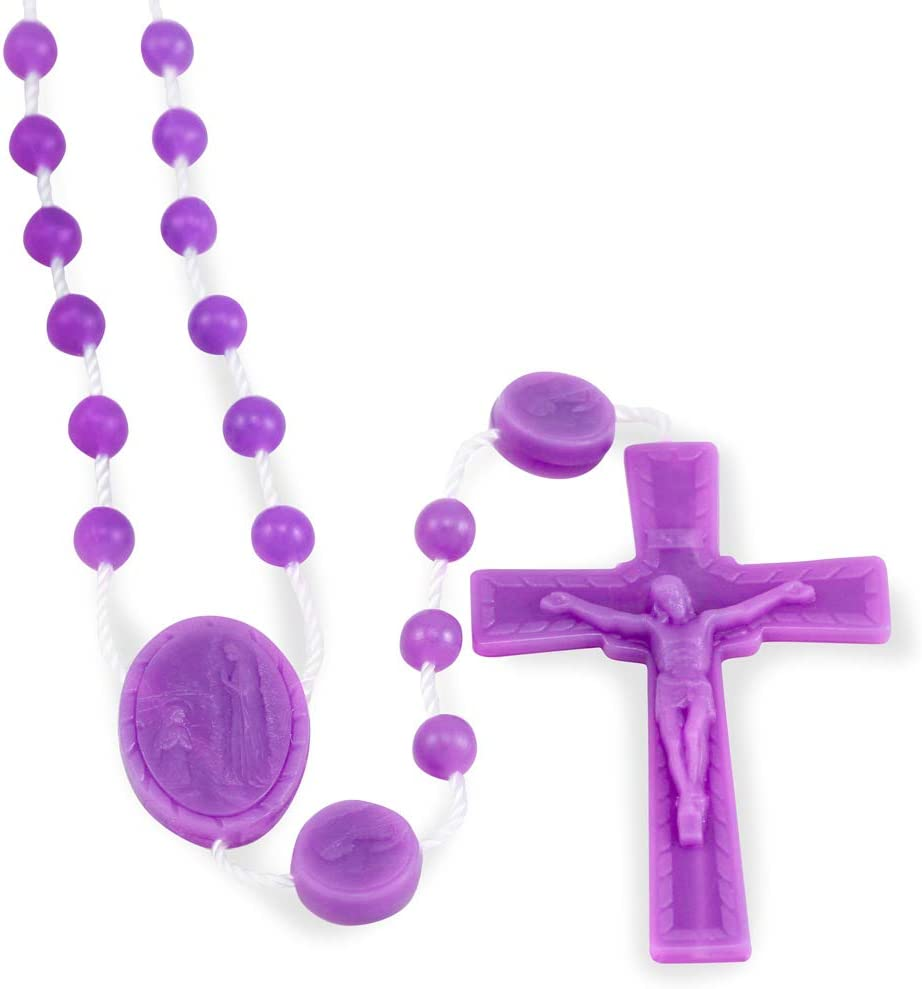 Purple Plastic Rosary Beads Bulk 100 Pack, Lady of Lourdes Plastic Rosary Made in Italy of Food Grade Nylon - Certified in The U.S.