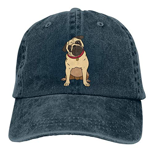 Adult Fashion Cotton Denim Baseball Cap Pug Clipart Classic Dad Hat Adjustable Plain Cap Navy