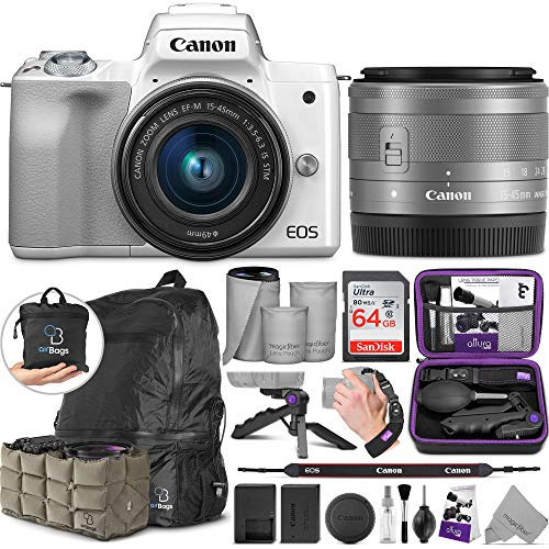 Canon EOS M50 Mirrorless White Digital Camera with EF-M 15-45mm Lens 4K Video White with Altura Photo Advanced Accessory and Travel Bundle